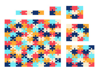 Various sizes jigsaw puzzle. Vector colorful collection.