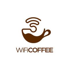 Wifi coffee logo design, isolated vector illustration