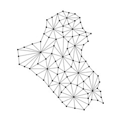 Iraq map of polygonal mosaic lines network, rays and dots vector illustration.