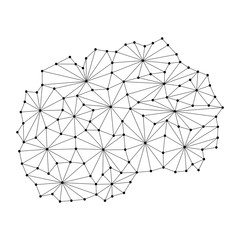 Macedonia map of polygonal mosaic lines network, rays and dots vector illustration.
