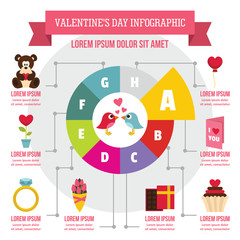 Valentine day infographic concept, flat style