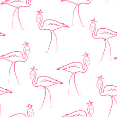 Canvas Prints Exotic tropical flamingo seamless pattern texture. Funny proud birds wearing crowns. Pink line sketch drawing on white background. Vector design illustration.