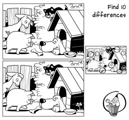 Little pig, goat, cat and dog sleeping in a doghouse. Find 10 differences. Educational game for children. Black and white cartoon vector illustration