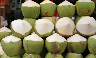 Fresh white Topical coconuts.