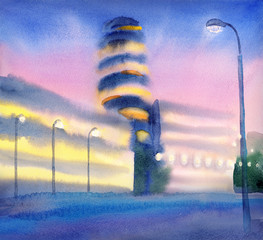 Cityscape with illuminated buildings at sunset. Watercolor