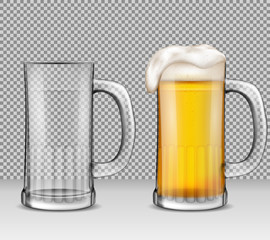 Vector realistic illustration of two transparent glass mugs - one full of beer with foam, the other is empty. Two beer glasses for your design, print, template