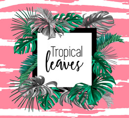 Vector tropical leaves template design