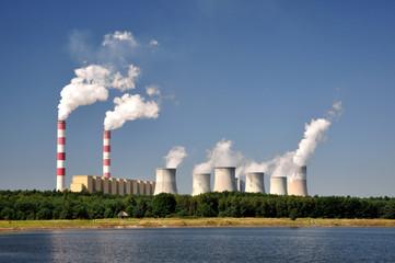 Fototapeta Smoking Chimney power plants . Bełchatów, Poland. obraz