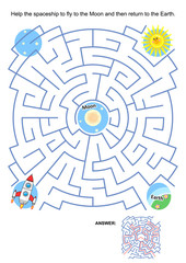 Maze game or activity page for kids: Help the spaceship to fly to the Moon and then return to the Earth. Answer included.