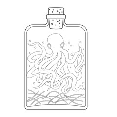 Halloween glass jar with octopus coloring pages
