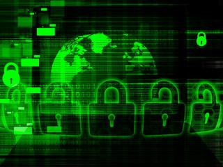 Global Cyber security concept. Pad lock on digital background. 3d illustration