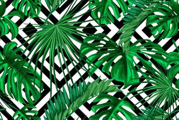 Foto op Canvas Tropische Bladeren Vector tropical leaves seamless pattern