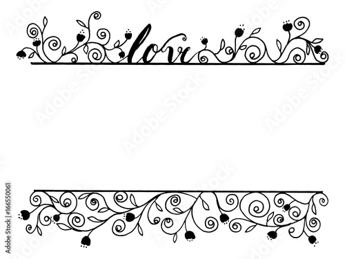 Love word calligraphy with flora line art by hand drawn decoration ...