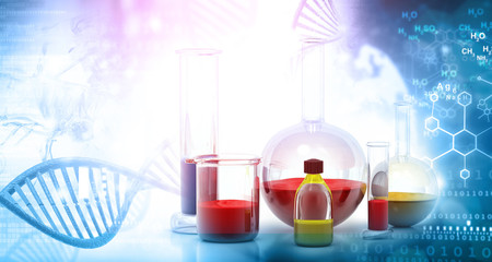Laboratory glassware. Abstract Science background. 3d render