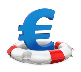 Euro Sign in Lifebuoy Isolated