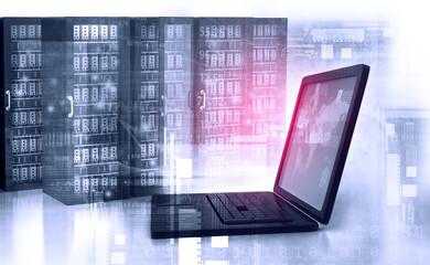 Modern server room with laptop. 3d illustration