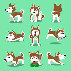 Cartoon character brown siberian husky dog poses