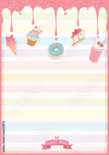 illustration vector of sweet dessert menu template decorated with