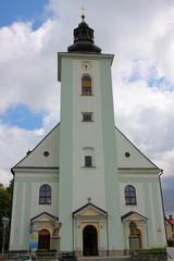 Barokowy kościół Świętych Apostołów Piotra i Pawła w Skoczowie (Polska, województwo śląskie), wybudowany w 1762 roku.