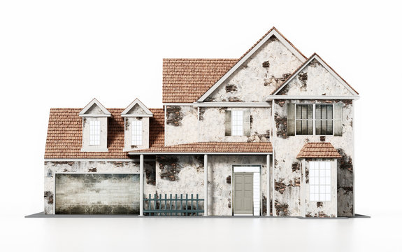 Old house isolated on white background. 3D illustration