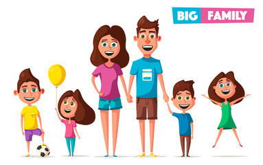 Happy family in travel. Cartoon vector illustration