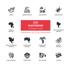 Zoo wayfinding - modern vector line icons set