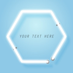 Hexagon neon, frame template and copy space