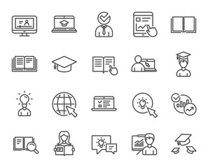Education line icons. Book, Video tutorial.