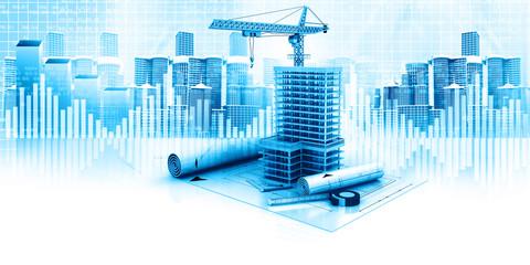 3d illustration of urban construction concept .