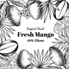 Vector frame with mango and tropical leaves .Hand drawn. Vintage style