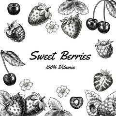 Vector frame with berries. Hand drawn. Vintage style