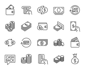Money line icons. Banking, Wallet and Coins.
