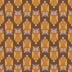 Cartoon owl bird cute character seamless pattern sleep sweet owlet vector illustration.