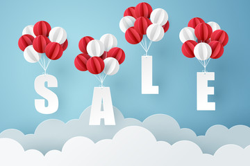 Paper art of Sale mobile hanging with balloon on sky, shopping and business promotion concept