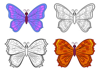 Set Butterflies, Colorful and Black Contours Isolated on White Background. Vector