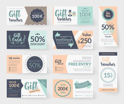 Vector gift voucher illustrations. Vintage style design, romantic color palette, resources and elements.  Background template for gift card, discount coupon and entry ticket.