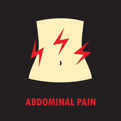 Abdominal pain or stomach-ache. Logo or icon template in colored flat style isolated on black background