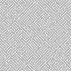 Abstract black geometrical seamless pattern. Maze. Labyrinth.