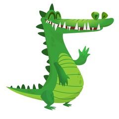 Cartoon crocodile. Vector raptor character icon