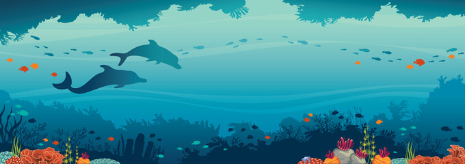 Dolphins, coral reef, fish and underwater sea.