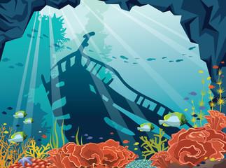 Underwater sea, sunken ship, corals, fish.