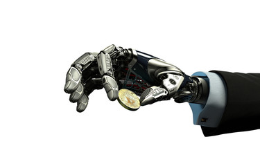 Robotic arm taking bitcoin isolated on white background. Artificial intelligence in virtual world. Electronic commerce business design. 3d rendering