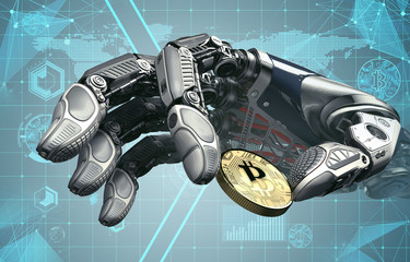 Robotic arm taking bitcoin against digital hud background. Artificial intelligence in virtual world. Electronic commerce business design. 3d rendering