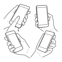 Hands collection, vector illustration, Vector mobile device outline, hands holding phone