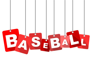 Red vector flat design background baseball. It is well adapted for web design.