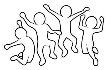 Eine Gruppe von Strichmännchen beim Freudensprung / gezeichnet, schwarz-weiß, Vektor, freigestellt