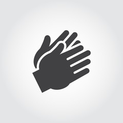Two clapping human hands black icon. Flat sign of applause, encouragement, approval. Web graphic pictograph for business and gaming concepts. Vector illustration