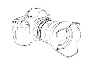 camera. Freehand drawing with a pencil