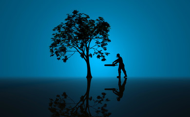 Tree cutting man in front of blue background