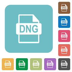 DNG file format rounded square flat icons